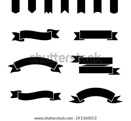 Set of monochrome ribbons and banners. Collection of simple frames. Vector illustration.