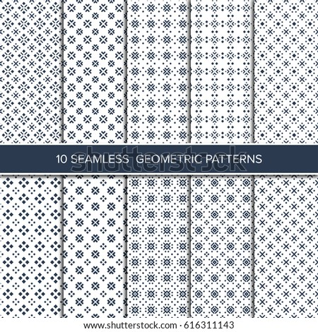 Set of monochrome seamless vector illustrations. Abstract decorative shapes.