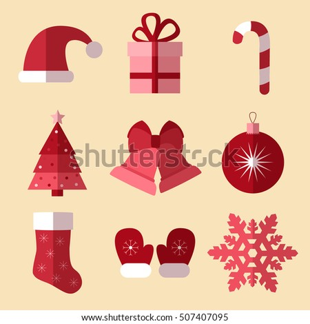 Set of monochrome simple christmas and new year flat icons vector illustration