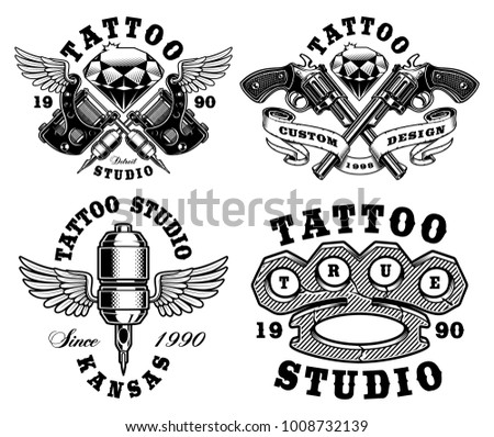 Set of monochrome tattoo emblems for tattoo studio, isolated on white background. Text is on the separate layer.