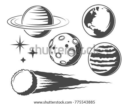 set of monochrome  vector...