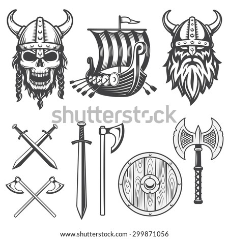 set of monochrome viking