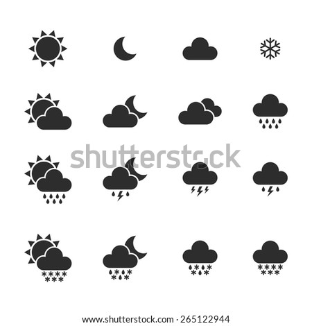 set of monochrome weather icons