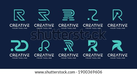 Set of monogram initial letter R RR logo template. icons for business of fashion, business, consulting, technology digital.