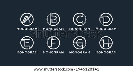 Set of Monogram logo initial letter a, b, c, d, e, f, g and h with circle concept. logo design template Stock fotó ©