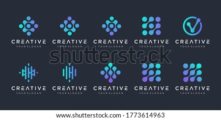 set of monogram logo with dot concept. Universal colorful biotechnology molecule atom DNA chip symbol. This logo is suitable for research, science, medical, logotype, technology, lab, molecule.