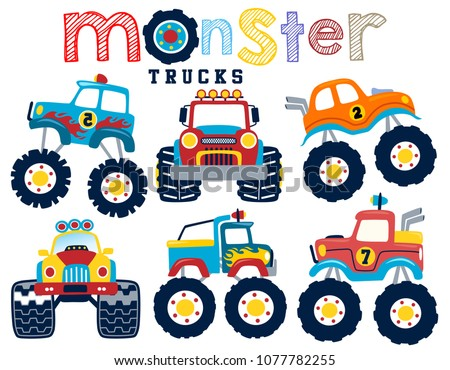set of monster truck cartoon