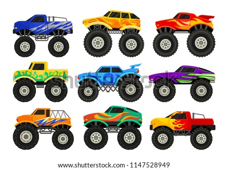 set of monster trucks heavy