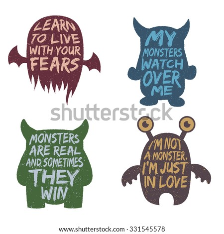 set of monster typography