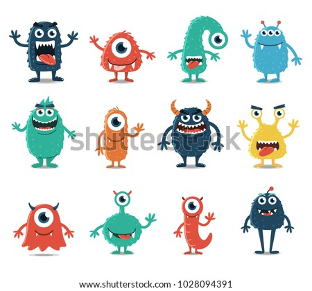 set of monsters isolated on