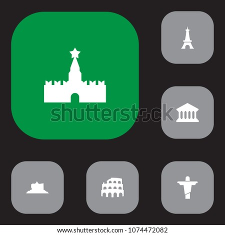 set of 6 monument icons set
