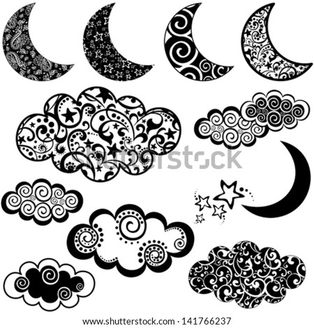 set of moon and cloud icons