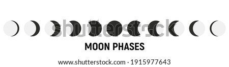 Set of Moon phases icons. Moon phase. The shape of the sun when the solar eclipse occurs. Night space astronomy and nature moon phases. The whole cycle from new moons to full moon