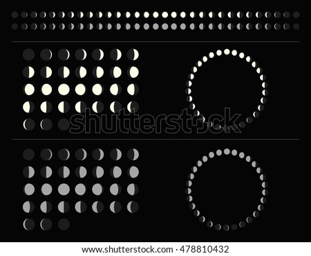 set of moon phases schemes