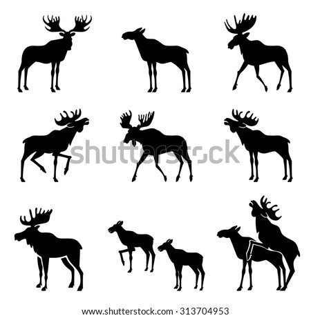 set of moose silhouettes
