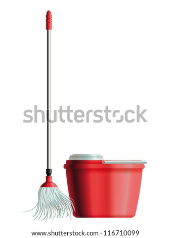 Set of mop with metal handle and red plastic bucket for house cleaning. Eps10