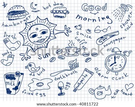 Set of morning doodles. Vector. Visit my portfolio for big collection of doodles
