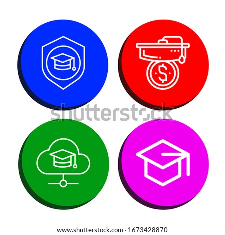 Set of mortarboard icons. Such as Mortarboard , mortarboard icons