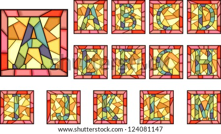 Set of mosaic alphabet capital letters from stained glass windows with frame(Part 1).