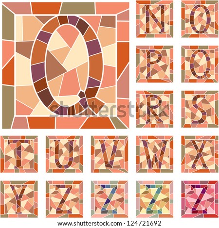 Set of mosaic alphabet capital letters in square frame(Part 2).