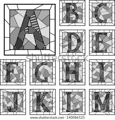 Set of mosaic monochrome alphabet capital letters patterned lines in square frame (Part 1).