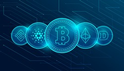 Set of most famous cryptocurrency coins. International stock exchange. Network bitcoin marketing vector.