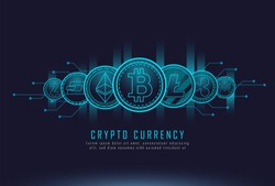 set of most famous cryptocurrency coins with cryptocurrency text , Vector illustrator