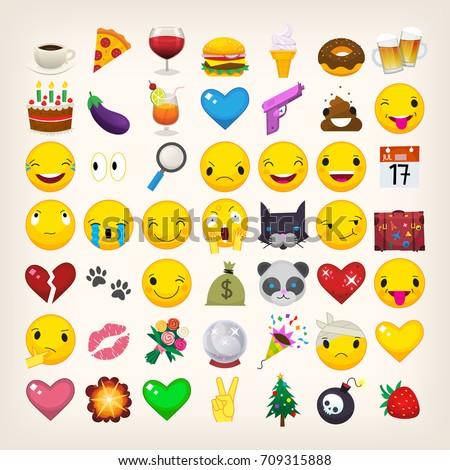 Set of most popular emoticons. Flat vector emoji.