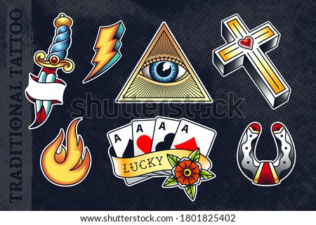 Set of most popular old school tattoo illustrations: knife, flash, triangle with eye, cross, flame, poker cards and horseshoe. All elements grouped and isolated on dark background. EPS10 vector.