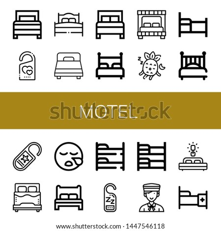 Set of motel icons such as Bed, Do not disturb, Sleeping, Bunk bed, Bellboy , motel