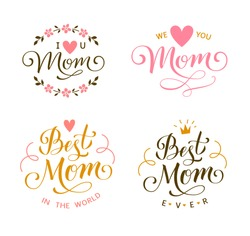 Set of Mother's Day decorations. I love you Mom. Best Mom ever. Vector greeting text for gift tag decor. Calligraphic lettering.