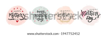 Set of Mothers day calligraphy. Design element for greeting card or invitation. Black Calligraphy Inscription with gold and pink hearts. Modern vector illustration. Isolated on white background.