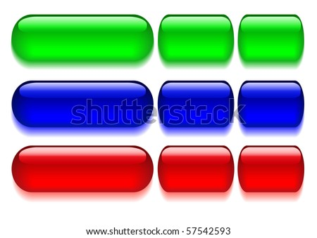 Set of motley glass buttons. Vector illustration.
