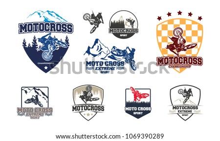 set of motocross jump logo