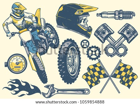 set of motocross objects in