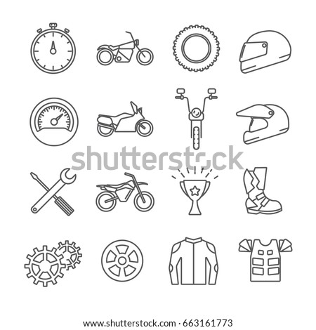 Set of motor sport Related Vector Line Icons. Includes such Icons as motorcycle, motorcyclist, helmet, jacket, biker, bike, speed
