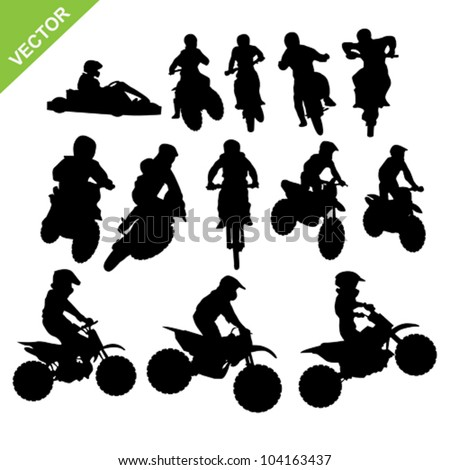 Set of Motorcross silhouettes vector