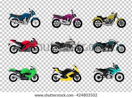set of motorcycle design flat