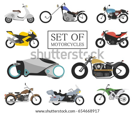 set of motorcycle icons retro