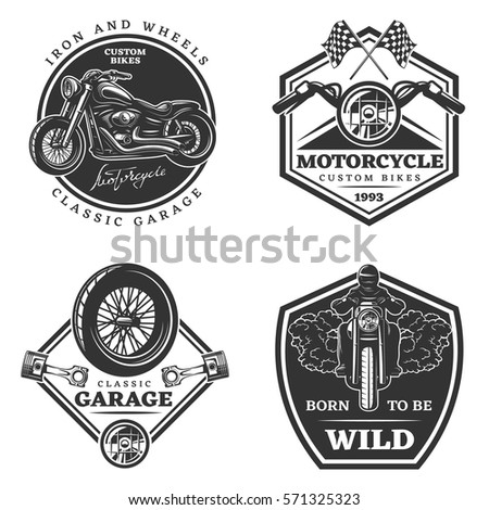 set of motorcycle monochrome
