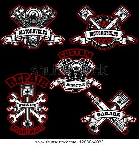 Set of motorcycle repair emblems. Bike motor, pistons. Design element for logo, label, emblem, sign, poster. Vector illustration