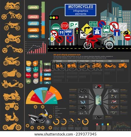 set of motorcycles elements