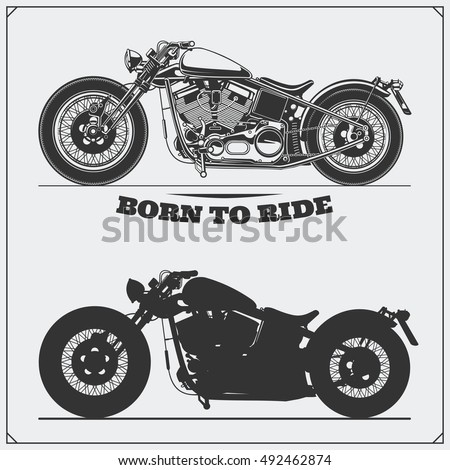 set of motorcycles emblems of