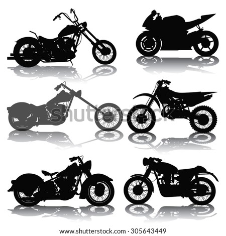 set of motorcycles silhouettes