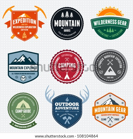 Set of mountain adventure and expedition logo badges