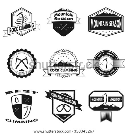 Set of Ski Club Patrol Labels  Vintage… Stock Photo