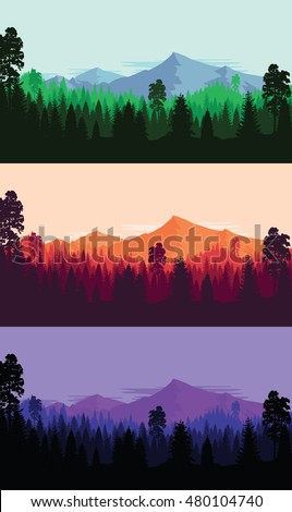 set of mountain and forest
