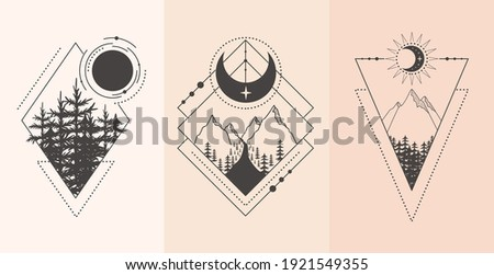Set of mountain and forest landscape in tattoo style. Vector illustration