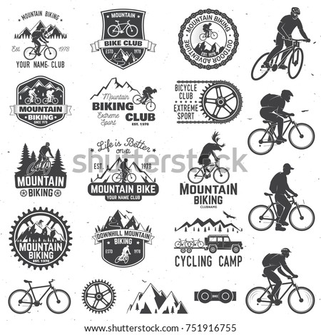 Set of Mountain biking clubs collection. Vector illustration. Concept for head badges, shirt, print, stamp or biking tourism. Design with forest, mountains and deer rides a mountain bike silhouette.