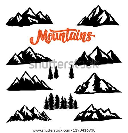 set of mountain peaks